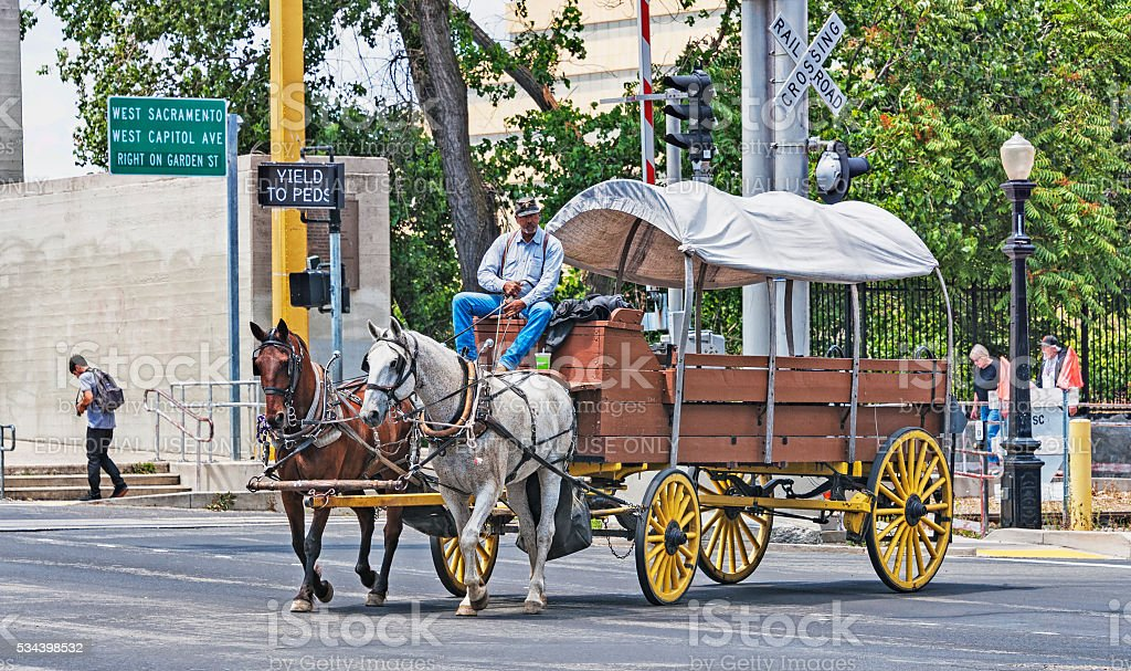 Horse Drawn Wagon And Driver People Walking Old Town Sacramento Stock Photo Download Image Now Istock