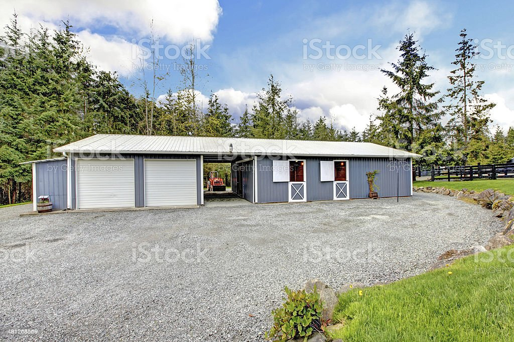 Horse Farm Stable Buidling With Horses And Garage Stock Photo Download Image Now Istock