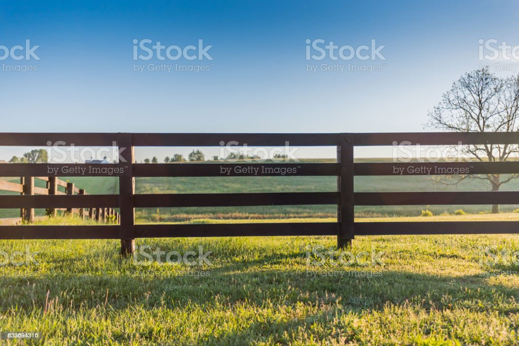 Horse Fence Across Field stock photo