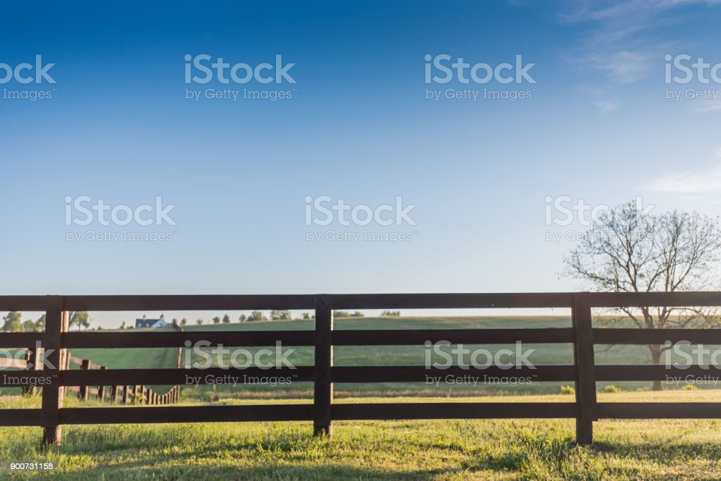 Horse Fence with Blue Sky stock photo