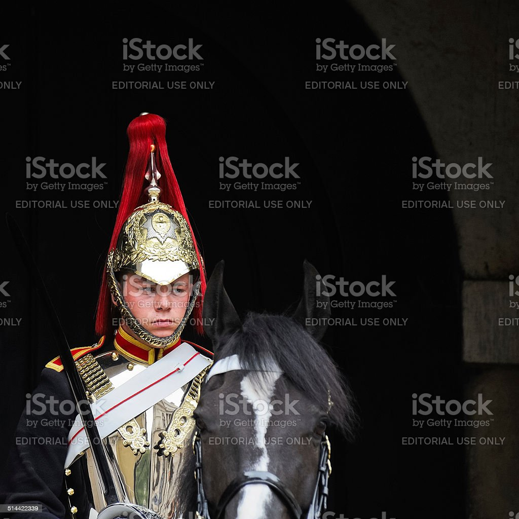 Horse Guard in front of St. James Palace in London stock photo