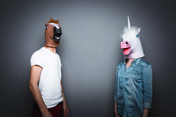 Horse head couple stock photo