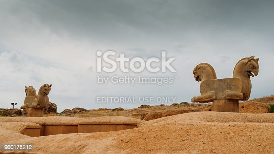 Pespepolis, Iran - April 28, 2018: Horse head statues. Persepolis was the ceremonial capital of the Achaemenid Empire