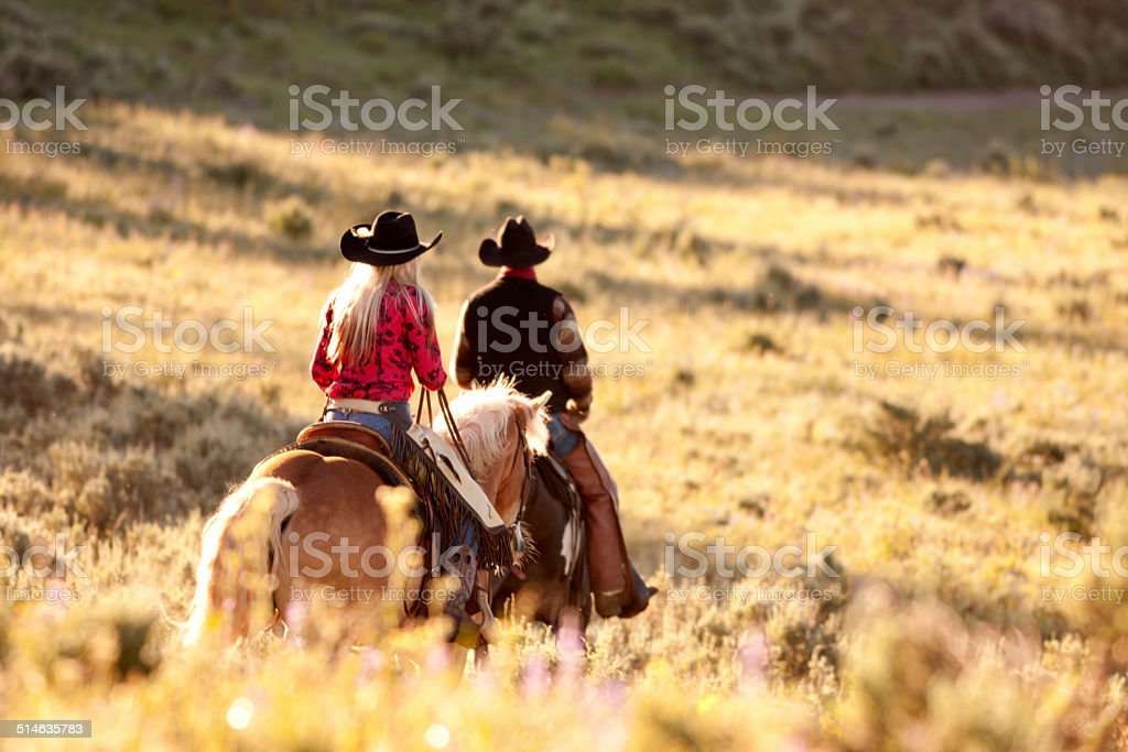 Horse herders, Montana stock photo