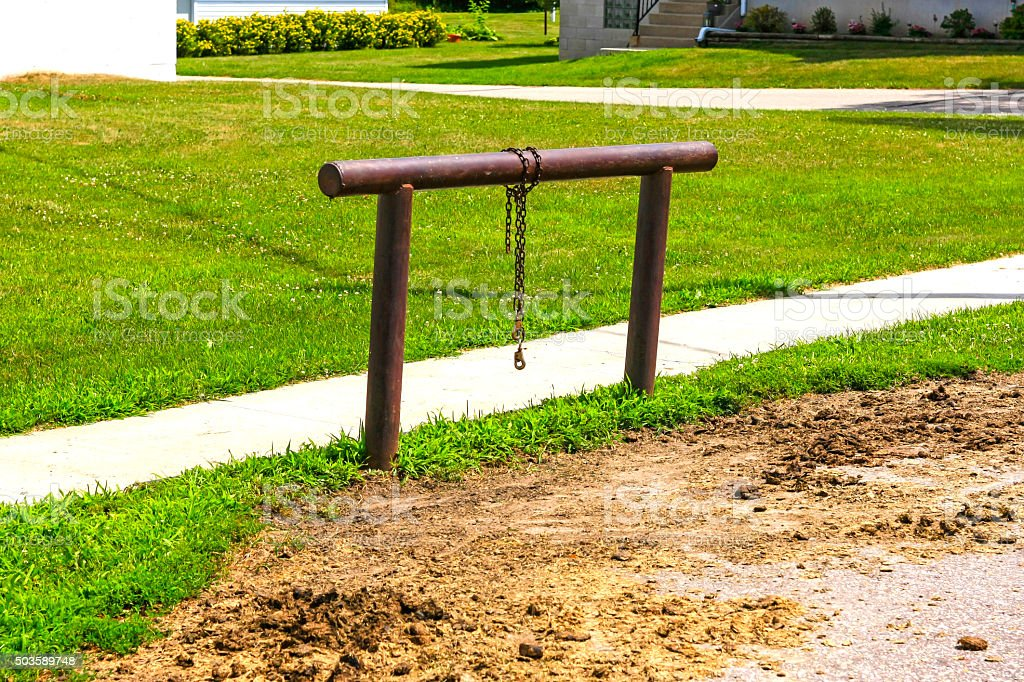 Horse hitching post in rural Wisconsin stock photo