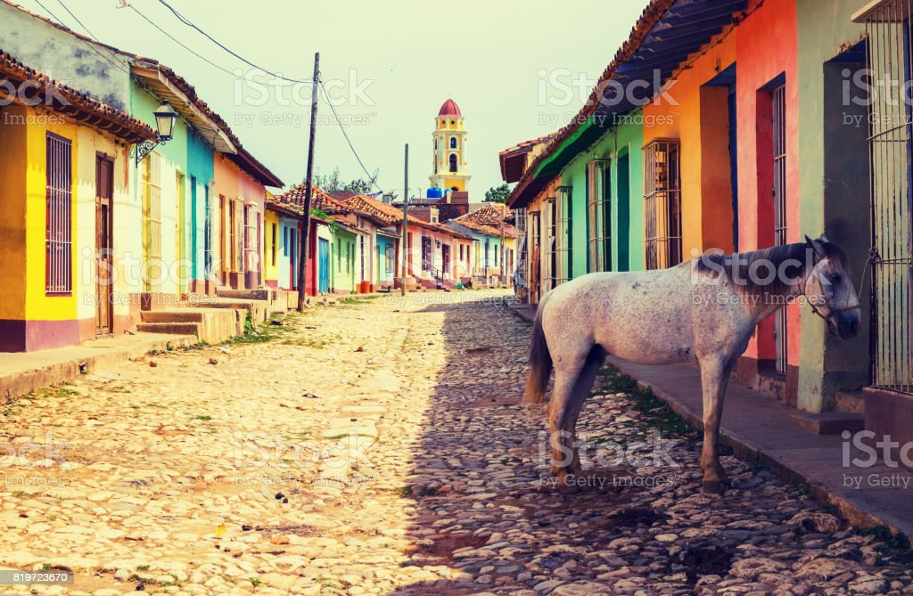 Horse in Town of Trinidad in Cuba stock photo
