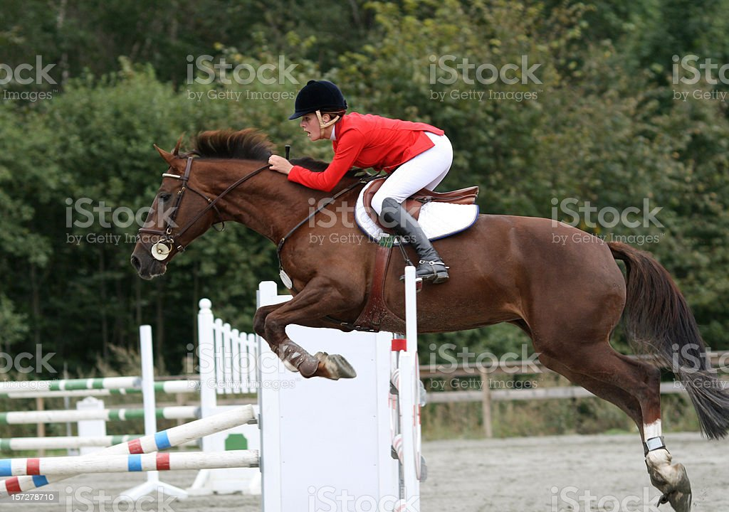 Horse jumping competition show with rider in red stock photo
