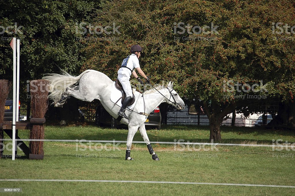 Horse jumping cross country fence royalty-free stock photo