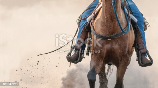 midsection of a horse as a cowboy is running her.