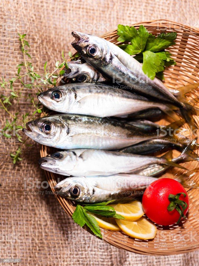 horse mackerel in basket royalty-free stock photo