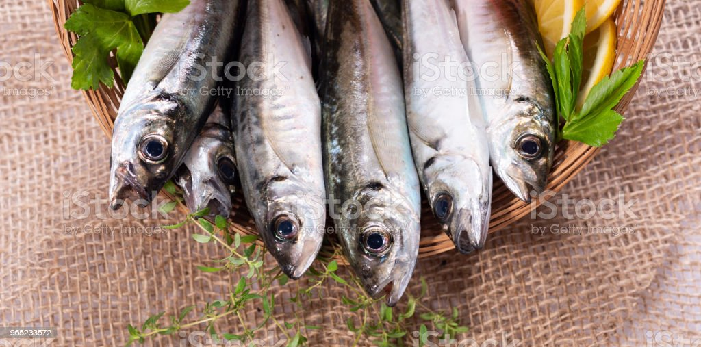 horse mackerel in basket zbiór zdjęć royalty-free