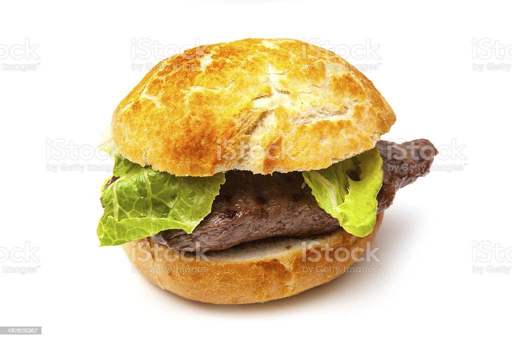 Horse meat steak burger stock photo
