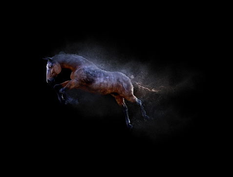 A horse moving and jumping with dust particle effect on black background, 3d illustration