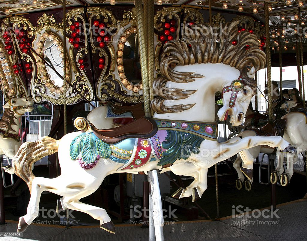 Horse on a carroussel royalty-free stock photo