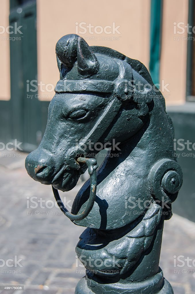 Horse Profile Post in New Orleans stock photo