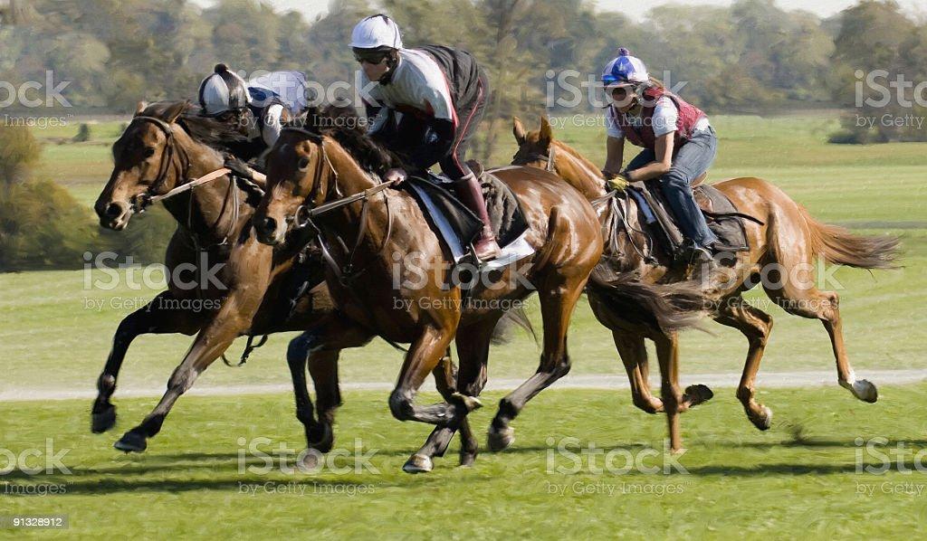 Horse Race (digital painting) stock photo