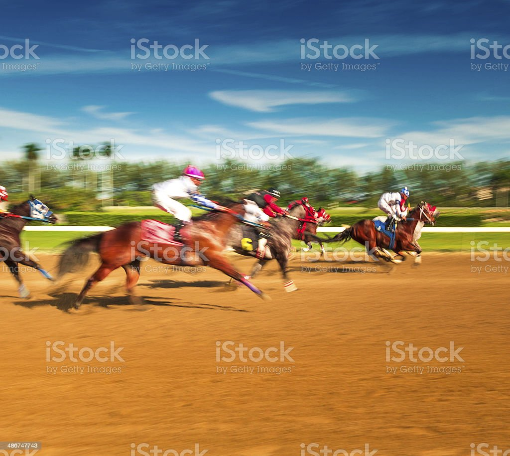 Horse Racing Motion Blur stock photo