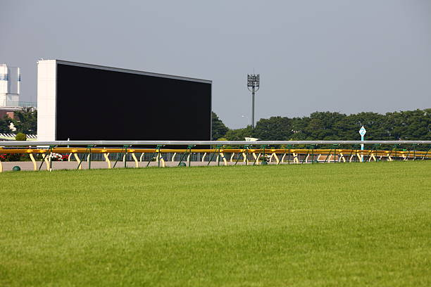 Horse Racing Track Turf track in racecourse with a big screen on the track side. sha tin stock pictures, royalty-free photos & images