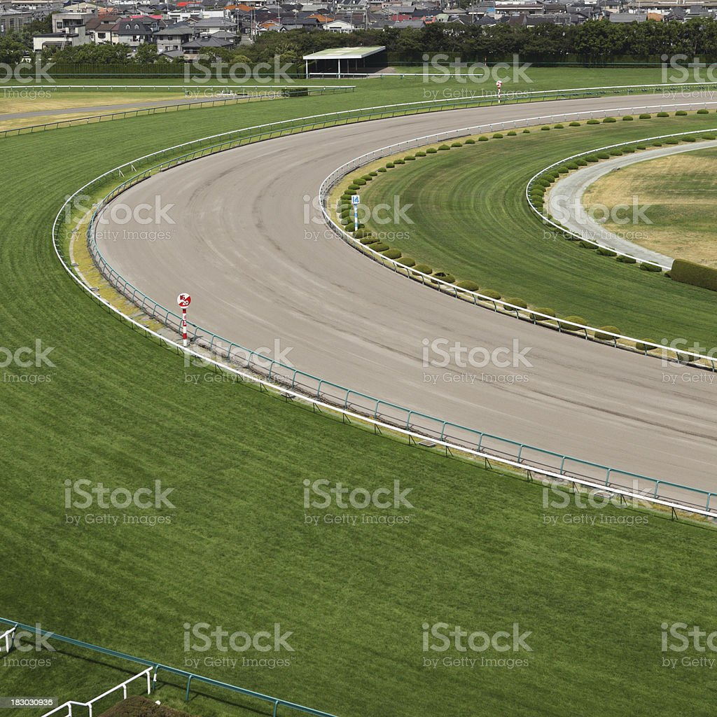 Horse racing track with turf and dirt track.