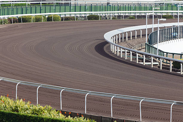 Horse Racing Track Dirt track in Racecourse. new territories stock pictures, royalty-free photos & images