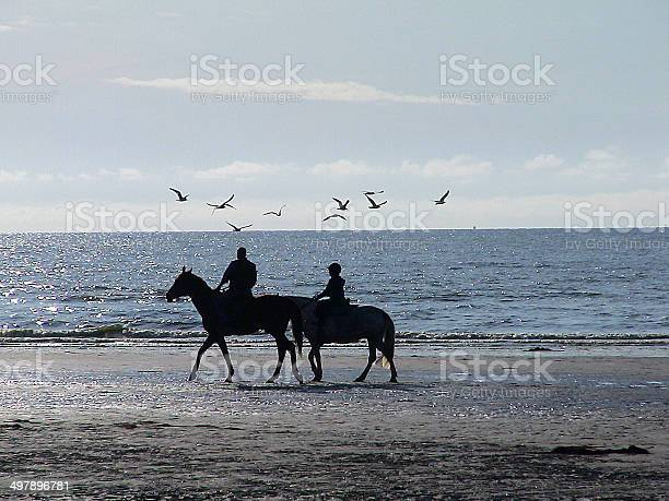 Horse Ride On The Beach Of Deauville Stock Photo - Download Image Now