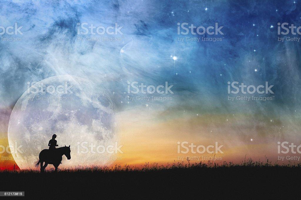 Horse & Rider Fantasy Night Sky & Full Super Moon stock photo