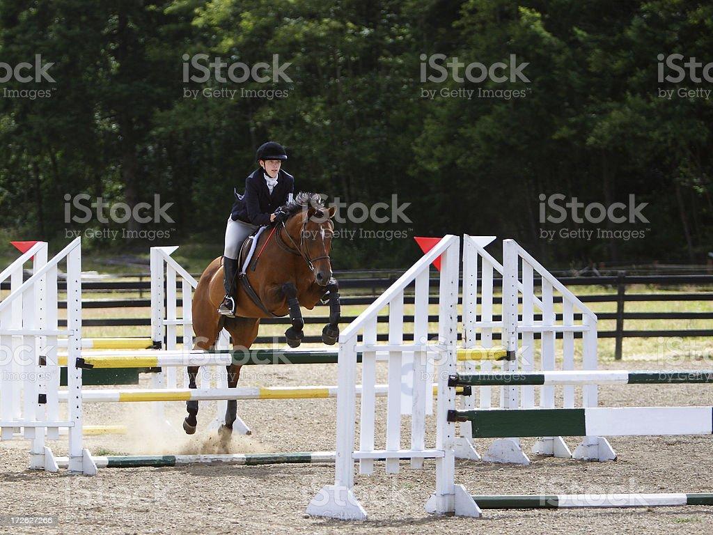 Horse & Rider Navigating a 3 jump combination stock photo