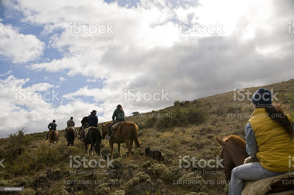 Horse riding excursion in Patagonia, Bariloche, Argentina stock photo