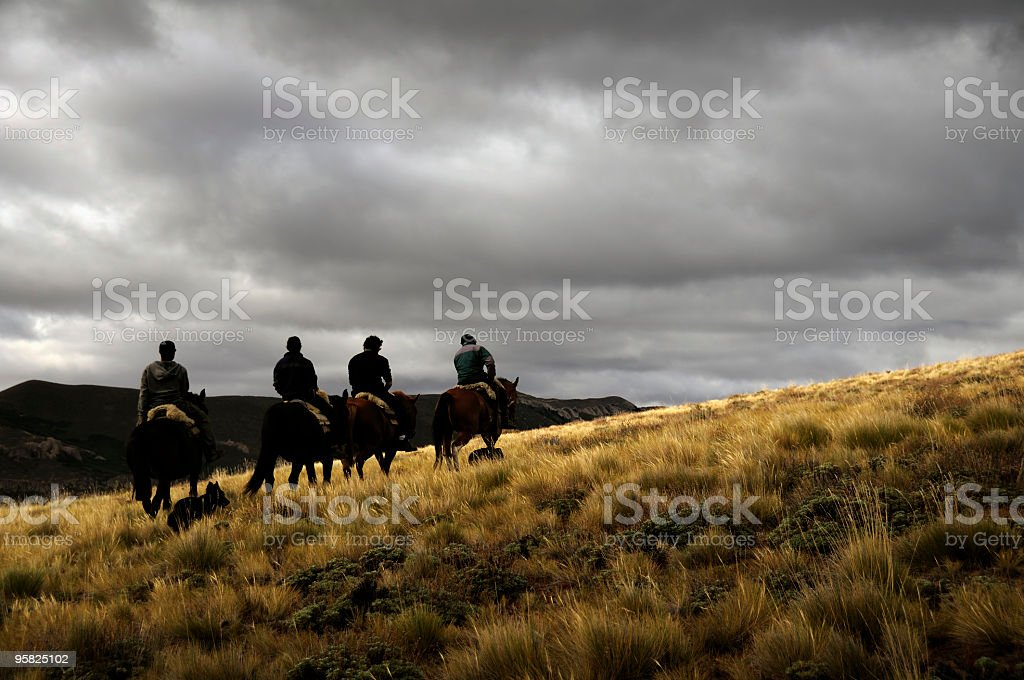 Horse Riding in Bariloche, Patagonia, Argentina stock photo