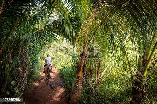 A man Horse riding in the lush forests of Vinales in Cuba.