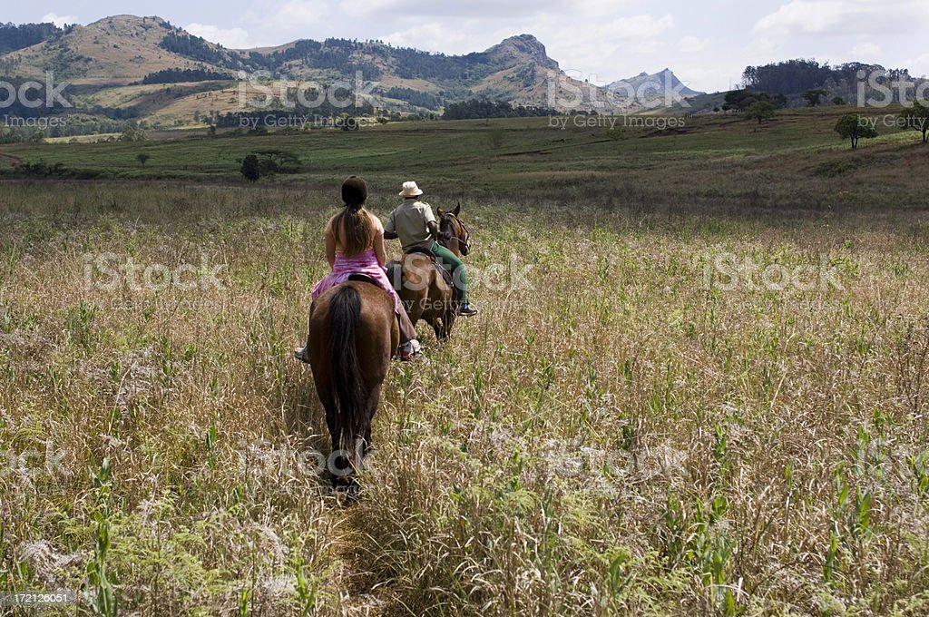 Horse riding Milwane Wildlife Sanctuary Swaziland Africa stock photo