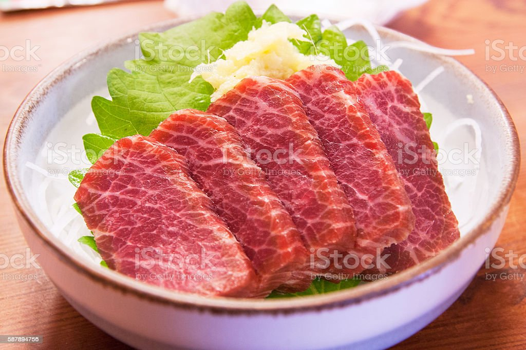 Horse sashimi is very delicious and popular stock photo