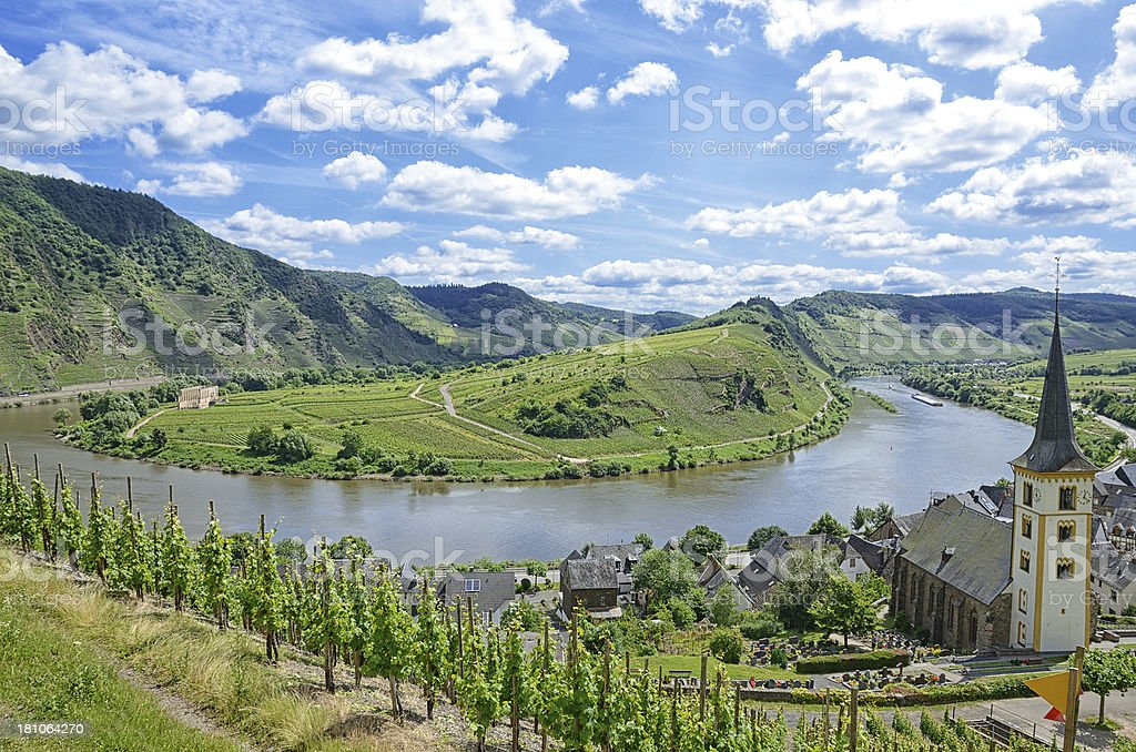 Horse shoe bend river Mosel with small village and  vineyards royalty-free stock photo