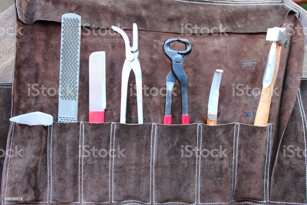 Horse shoeing tools stock photo