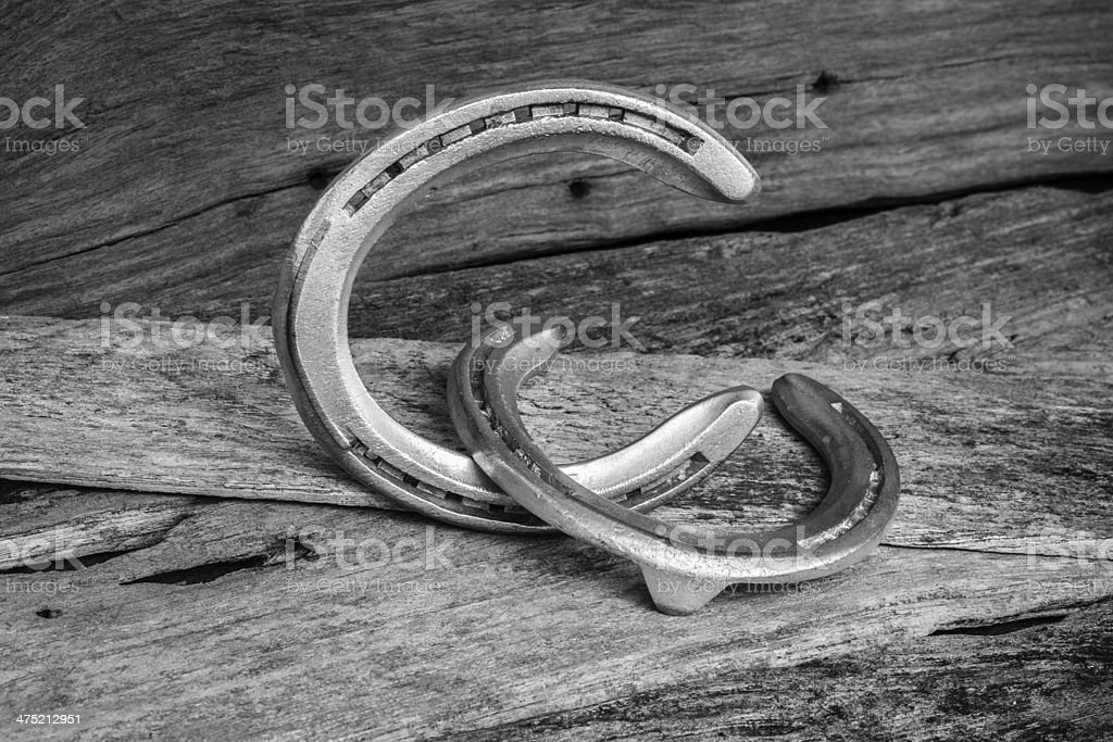 horse shoes on wood royalty-free stock photo