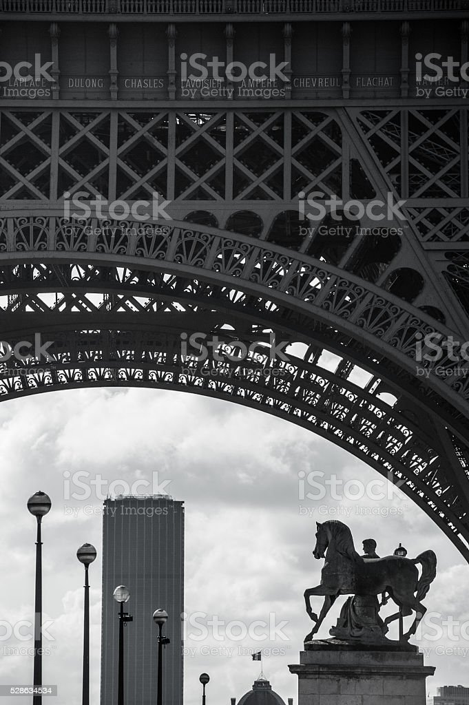 Horse statue by Eiffel Tour stock photo