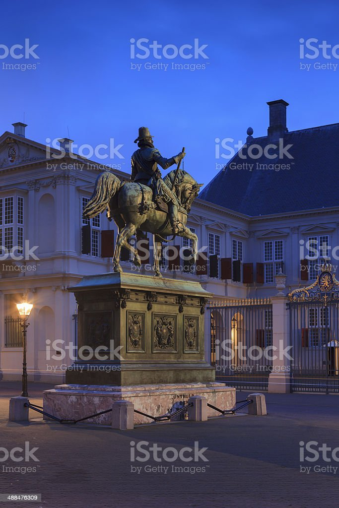horse statue in front of Noordeinde Palace stock photo