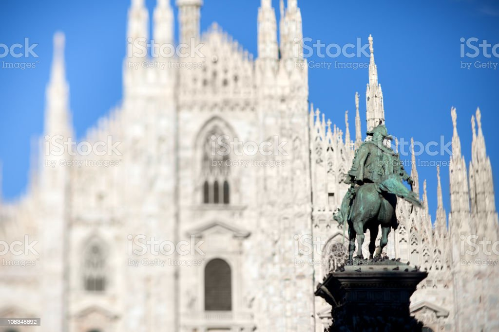 Horse statue in Milan Cathedral Square royalty-free stock photo
