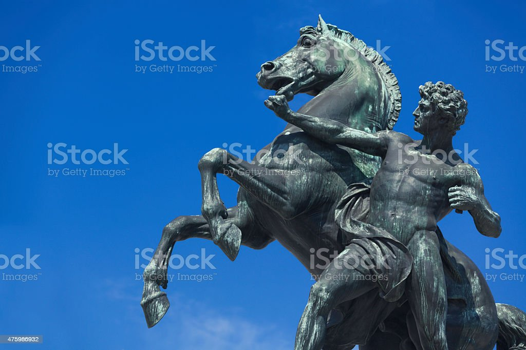 Horse tamer statue at the Austrian Parliament stock photo