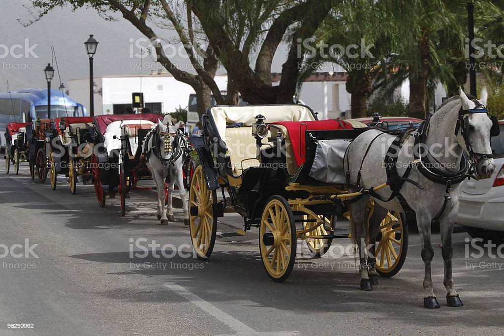 Horse Taxis at Mijas. Spain royalty-free stock photo