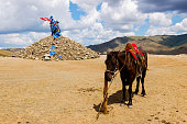 Mongolian horse and stone cairn (ovoo), spiritual sites for worshiping the mountains, sky and revered sky deity. Travelers walk clockwise three times adding a rock for a safe journey