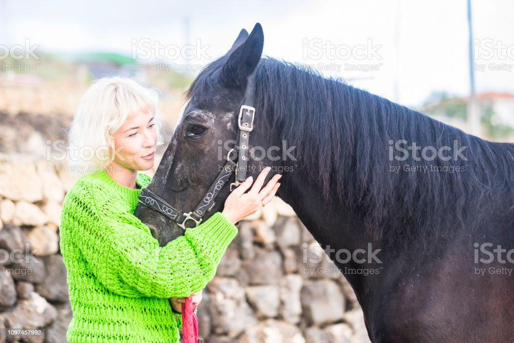 Horse therapy love concept with female blonde young caucasian lady...