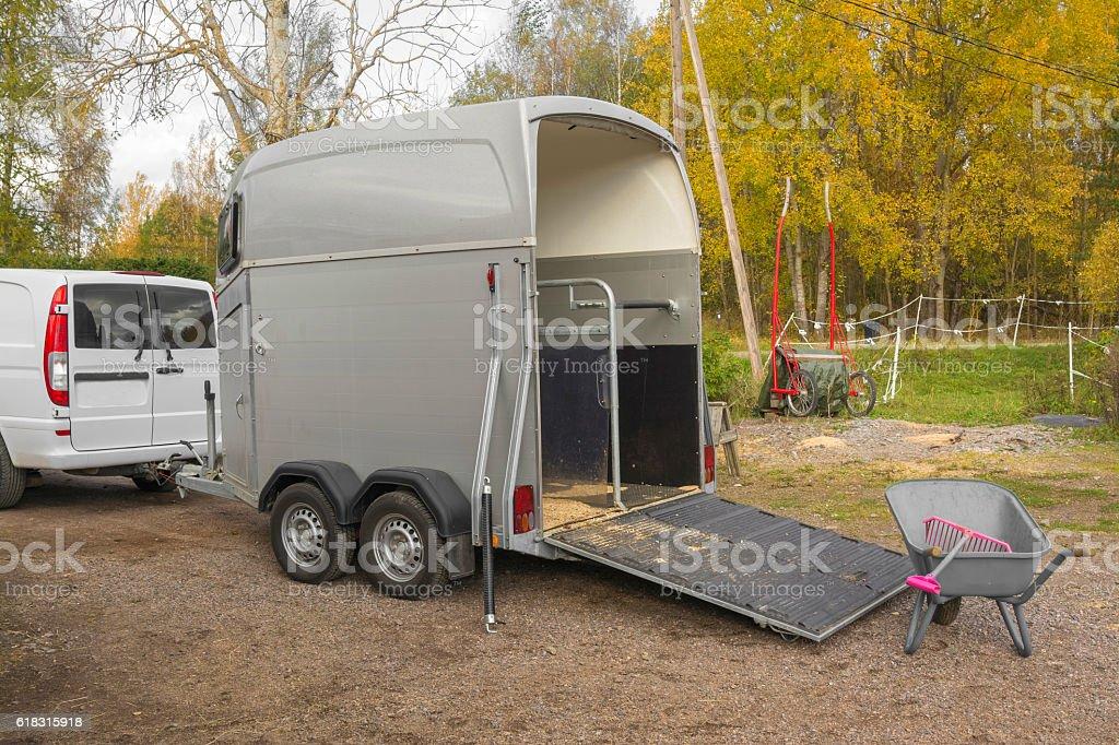 Horse trailer stock photo