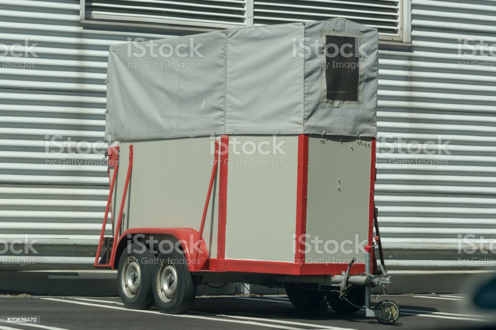 Horse transport trailer stock photo