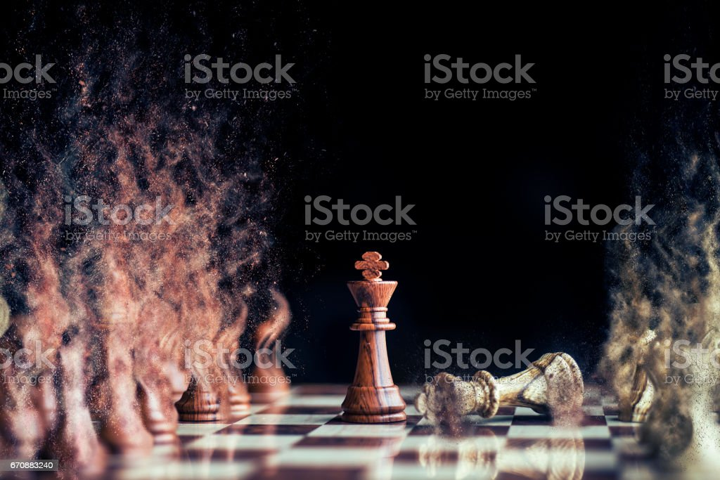 horse war at chess with sand storm stock photo
