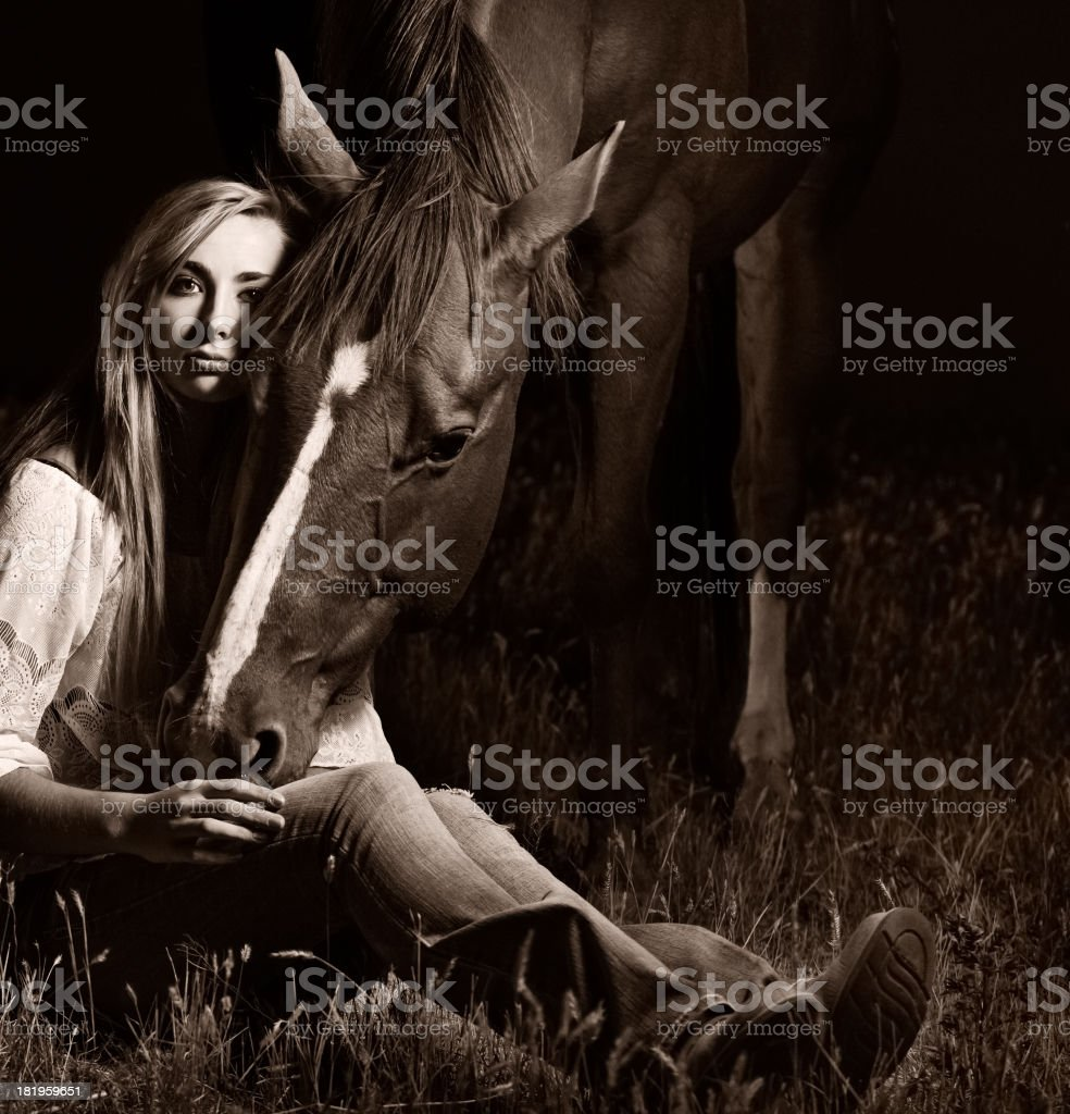 Horse With Head Down Nuzzling Beautiful  Woman Black  & White stock photo