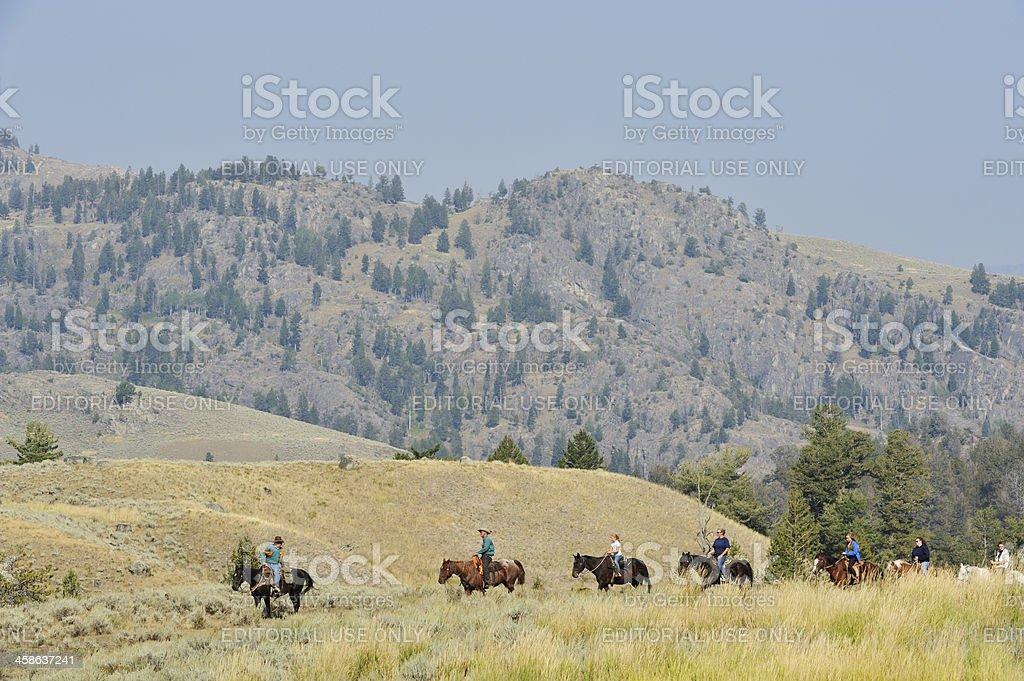 Horseback riders in Yellowstone stock photo