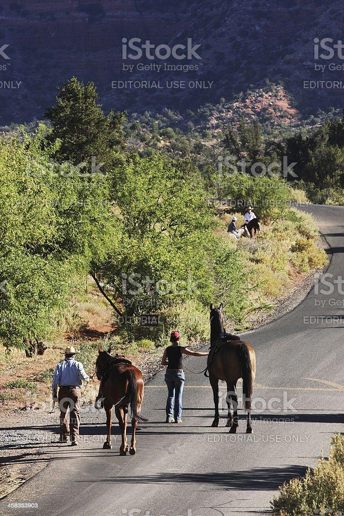 Horseback Riding Couple Bay Horses royalty-free stock photo