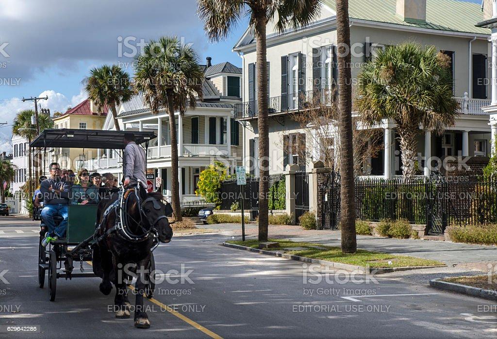 Horse-Drawn Carriage in Historic Charleston, South Carolina stock photo