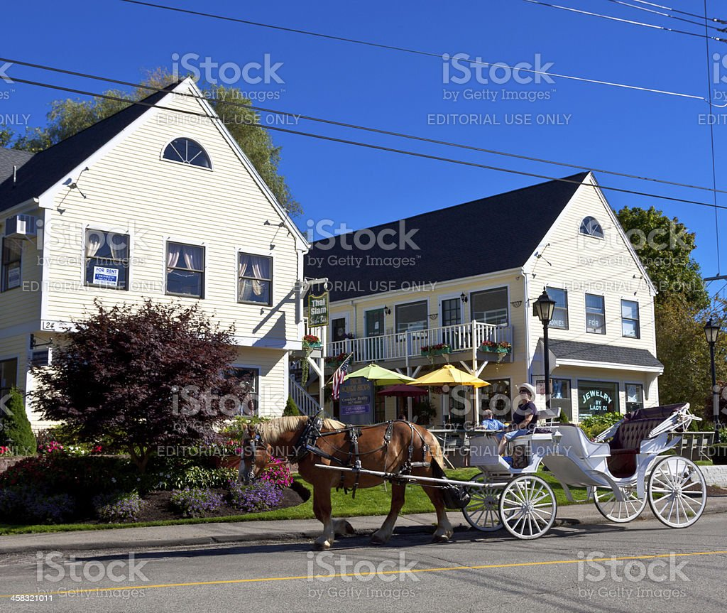 Horse-Drawn Carriage in Kennebunkport, Maine. stock photo